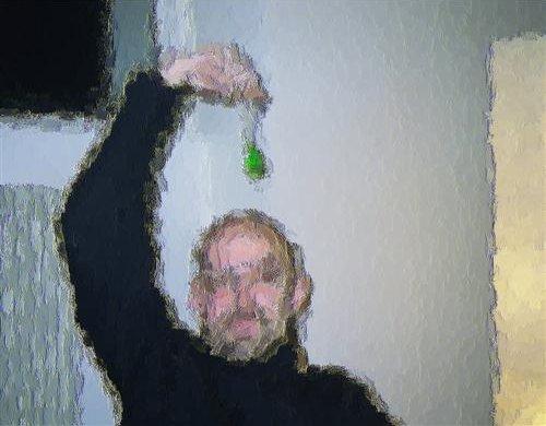Prisme et tronçonneuse - huile sur toile - 50 x 39 cm